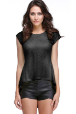 GE Women's Lace Peplum Hem O-Neck Short Sleeve T-Shirt S-XL (Black)