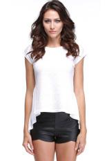 Jo.In Women's Lace Peplum Hem O-Neck Short Sleeve T-Shirt S-XL (White)