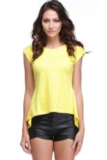 Jo.In Women's Lace Peplum Hem O-Neck Short Sleeve T-Shirt S-XL (Yellow)