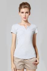 GE Women's V-neck Short Sleeve T-Shirt Tops Blouse S-XL (Gray)
