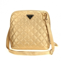 GE Women Synthetic Leather Handbag Plaid Small Shell Messenger Bags Women Bag (Gold)