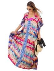 JollyChic Women's Beachwear O Neck Side Split Long Cover Ups Dress (Red) - intl
