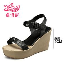 Josiny Manis Batu Kristal Air Bertumit Tinggi Gesper Sepatu Wanita Sandal Summer (Hitam)
