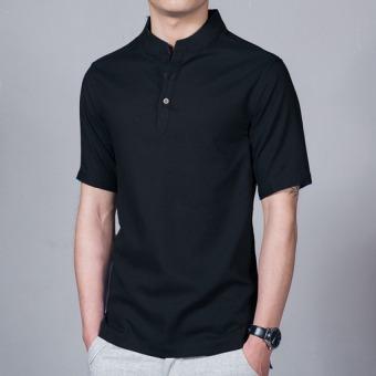 JOY Chinese wind linen men's shirt black - Intl