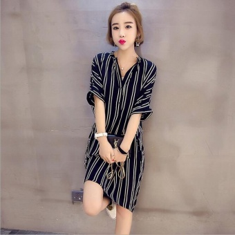 JOY Korea Korean fashion Leisure stripe big size dress Black - intl