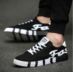 JOY Men's Canvas Shoes Low Help Fashion Cloth Shoes Sneakers Breathable Leisure Students Black