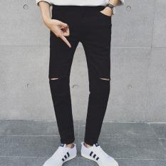 JOY Men's Casual Hole Pencil Pants Black - Intl