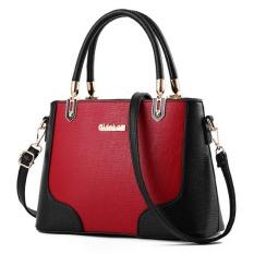 JOY Woman's Fashion Classic Casual Fashion Handbag Burgundy Black - Intl