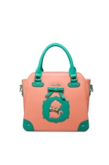 JUST STAR High Quality Polka Dots Kitten Faux Leather Purse Satchel Messenger Hand Bag Bowknot Cute Cat (Orange)