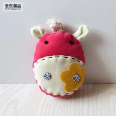 Kain yang indah gadis multifungsi kunci fob set kunci (Bunga sapi merah muda)