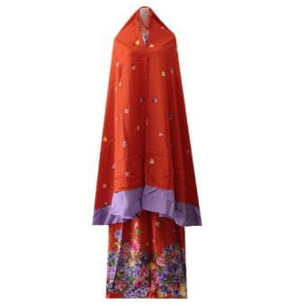 Kampung Souvenir - Mukena Super Jumbo Rempel - Orange With Purple Flowers
