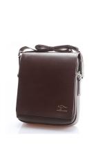 Kangaroo Kingdom Men's Vertical PU Shoulder Bag Messenger Bag - Size S Brown