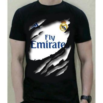 Kaos Bola 3D Real Madrid Bahan Katun T-Shirt warna hitam