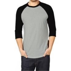 KaosYES Kaos T-Shirt Raglan Two Tone - Abu Misty Muda/Hitam