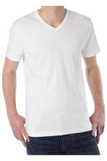 KaosYES Kaos T-Shirt V-Neck Lengan Pendek - Putih