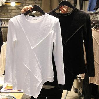 ... Bottoming Rok Korea Source · Kapas perempuan yang tidak teratur longgar kemeja putih lengan panjang t shirt Hitam