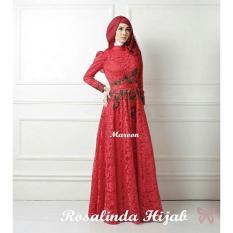 Kebaya Dress Alia Muslim / Setelan Kebaya / Syari Rosalinda/ Terbaru Bahan Bagus - Maroon