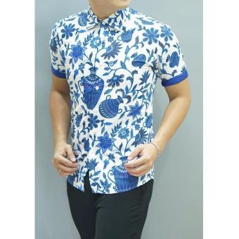 Kemeja Batik Slimfit Pria 8394 Blue Kombinasi Muslim Koko Jeans Source · Kemeja Batik Slimfit Pria