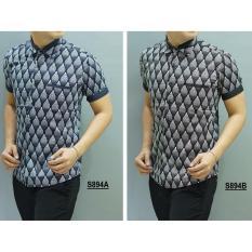 Kemeja Batik Slimfit Pria S894B Black Kombinasi Muslim Koko Jeans .