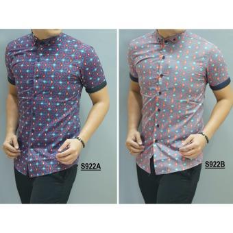 Kemeja Batik Slimfit Pria S922A [Red] Kombinasi Muslim Koko Jeans