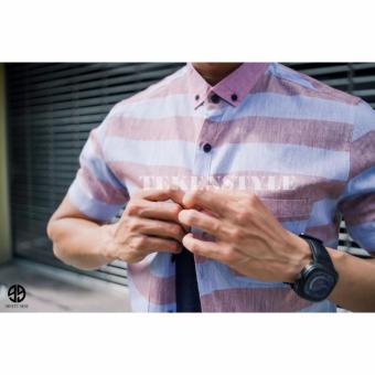 Kemeja Tekenstyle Lengan Pendek Salur Kombinasi Warna Soft Pink Dan Soft Ungu .