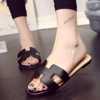 Khalista Collections Flats Sandal Loafers Flip Flops Casual Synthetis Leather - Hitam