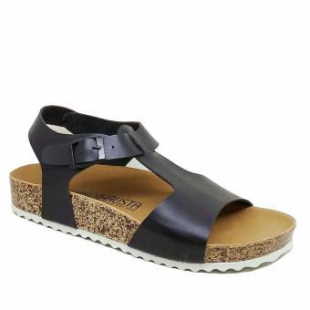 Khalista Collections Sandals Casual Flatform Cork Synthetis 002 - Hitam