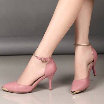 ... Khalista Collections Women Pumps Gold Mental Point Toe Shoes Bright Ankle Strap 004