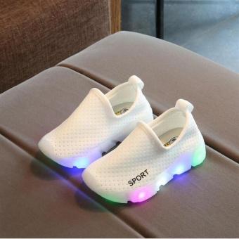 Bandingkan Harga Kid's Girl's Boy Child's Slip-On LED Lights Up Breathable Casual Running Sport