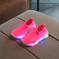 Kid's Girl's Boy Child's Slip-On LED Lights Up Breathable Casual Running Sport Shoes I122 Rose - intl