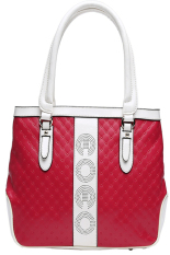 Kingor Women's / Ladies' Pu Faux Leather Portable Design Tote Top-handle And Shoulder Handbag-red