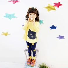 Kitty anak perempuan setelan lengan panjang celana panjang katun murni two-kuning - International