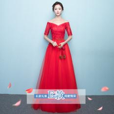 Korea Fashion Style Perempuan Perjamuan Gaun Malam Busana Pendamping Pengantin (899 Merah Model Panjang Model