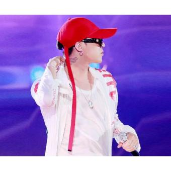 Korea GD The Same Paragraph dasi sabuk hitam crooked topi bisbol (Merah)