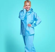 Korea New Fashion Thickening EVA Suit With Pants Raincoat (Blue) - Intl