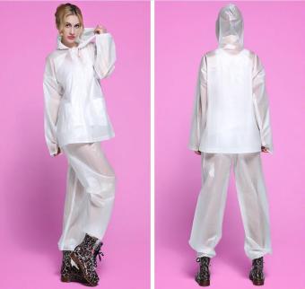Korea New Fashion Thickening EVA Suit With Pants Raincoat (White) - Intl