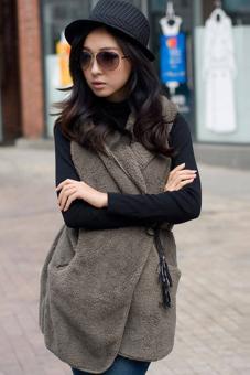 SuperCart Korea Women's Girls Fashion Elegant Warmer Casual Bushy Hoodie Long Vest Coat (Khaki)