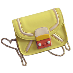 Korean Candy Color Mini Small Bag Crossbody Bag Tide New Handbag Chain Robot Chain Bag Yellow - Intl