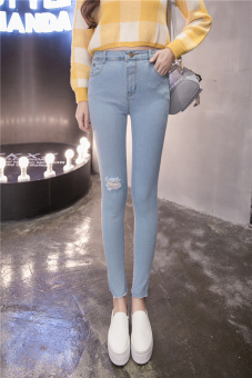 7bca93a0f4e Korean Fashion Women s Casual Ripped Jeans High Waist Elastic Denim Skinny  Pencil Pants with Hole HPT053