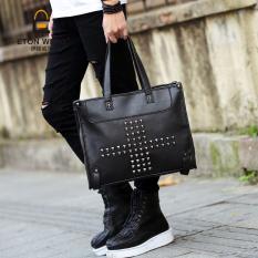 Korean New Fashion Men's Handbag Single Shoulder Bag Portable Single Shoulder Crossbody Bag Leisure Fashion Cool Men's Handbag-Black - Intl