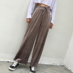 Korean-style autumn new drawstring closure high-waisted pants (Khaki)
