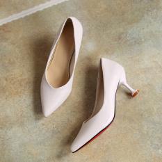 Korean-style autumn New style cat Versatile High-heeled shoes (Nasi putih)