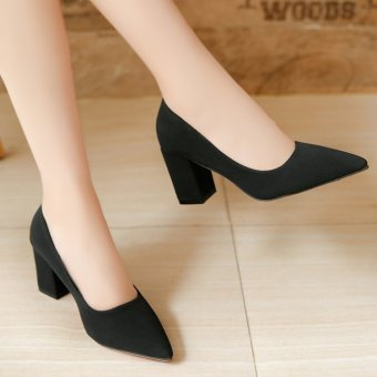Korean-style autumn New style pointed shoes (Hitam)