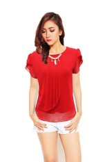 Korean Style Blus With Pearl Necklace Short Sleeve - Merah