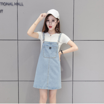 Korean-style cowboy student word skirt strap dress (Cahaya biru)