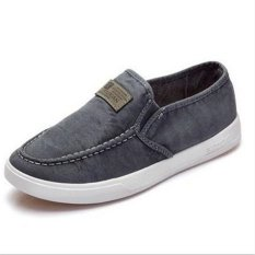 Korean Style Fashion Breathable Low Cut Canvas Shoes (Grey) (Intl)
