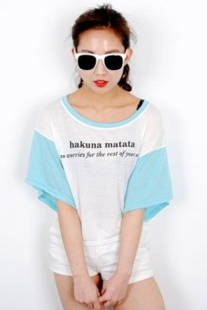 Korean Style Hakuna Matata Cute Women T-shirt (Skyblue)
