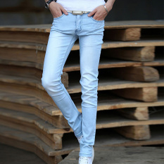 Korean Style Men 's Jeans Men' S Slim Stretch Feet Pants
