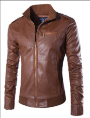 Korean Style Men's Leather Clothing Slim Collar PU Leather Winter Or Spring Youth Leather Jacket Fashion Coats (Brown)