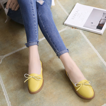 Korean-style spring and summer New style shoes small leather shoes (Kuning)